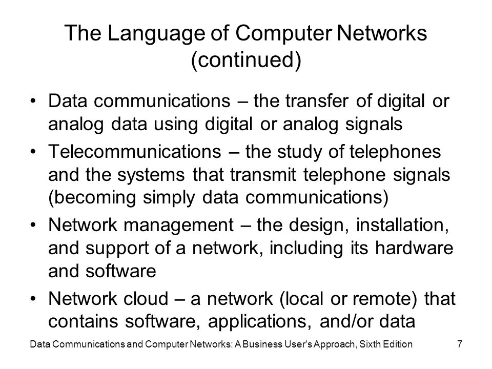 The Language of Computer Networks (continued)