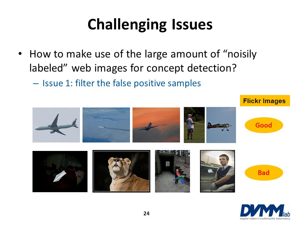 Challenging Issues How to make use of the large amount of noisily labeled web images for concept detection