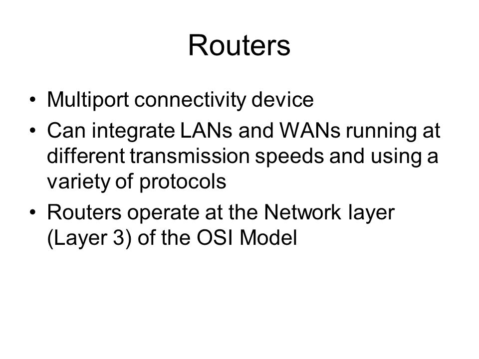Routers Multiport connectivity device