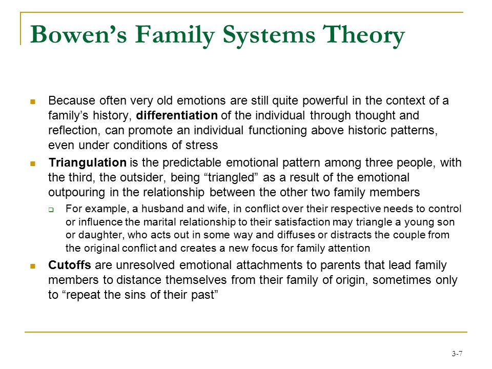 bowens family systems Bowen family systems, structural, and strategic models theory application the case study of ana will be analyzed using the bowen family systems theory approach.