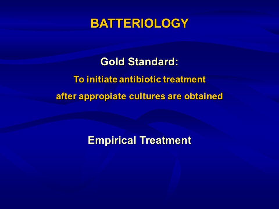 BATTERIOLOGY Gold Standard: Empirical Treatment