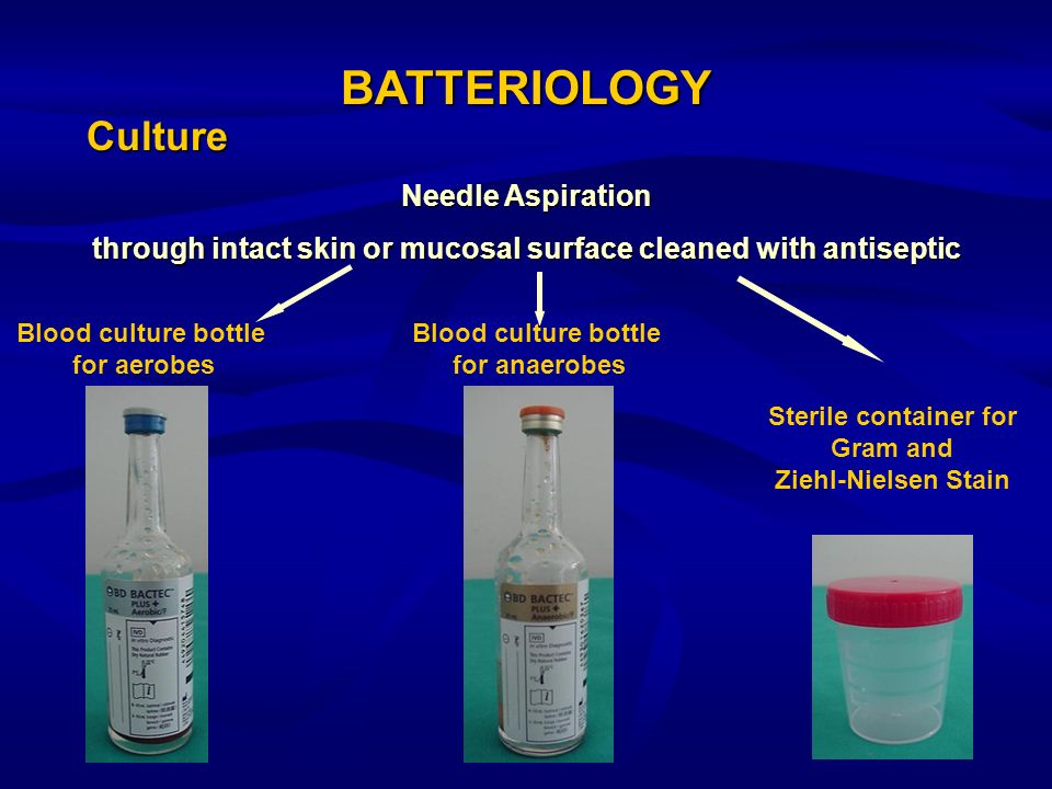 through intact skin or mucosal surface cleaned with antiseptic