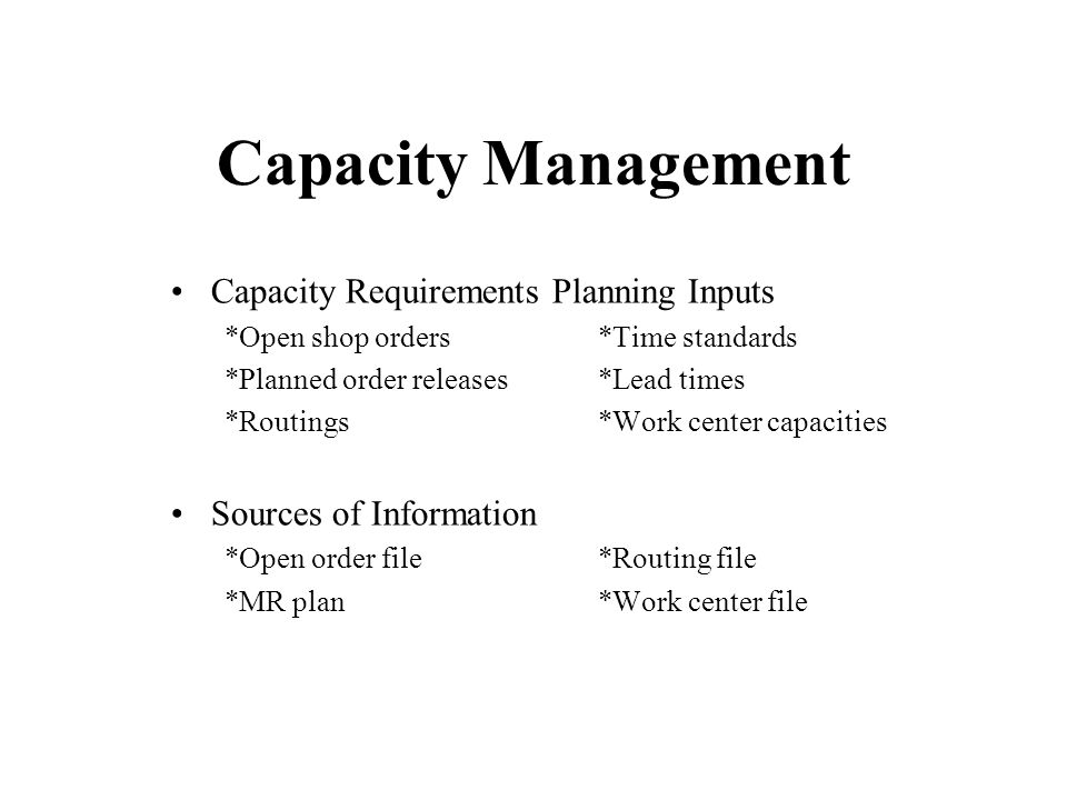 capacity requirement planning Crp is a shorter term capacity planning tool than rough cut capacity planning (rccp) like rccp, crp is used by marketing and production to balance required and available capacity, and to negotiate changes to the master schedule and/or capacity requirements.