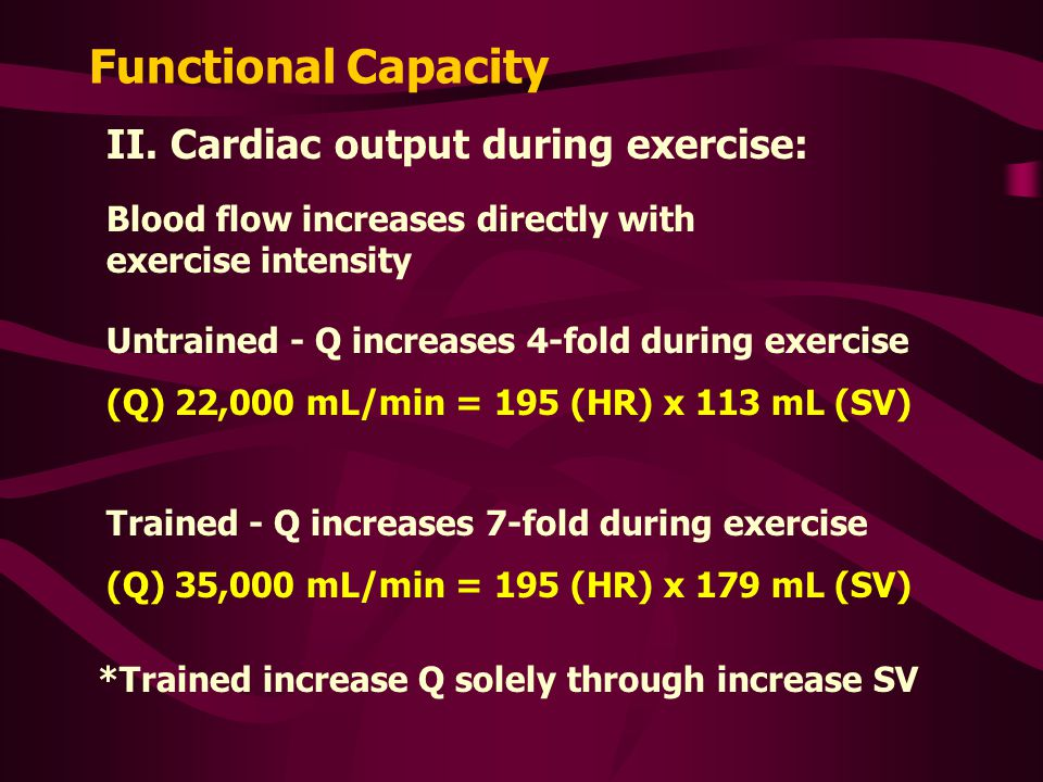 Functional Capacity II. Cardiac output during exercise:
