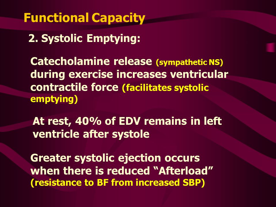 Functional Capacity 2. Systolic Emptying: