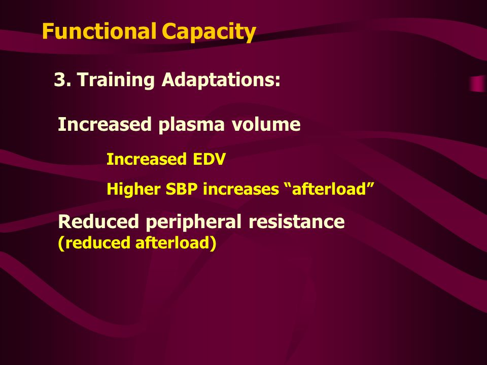 Functional Capacity 3. Training Adaptations: Increased plasma volume