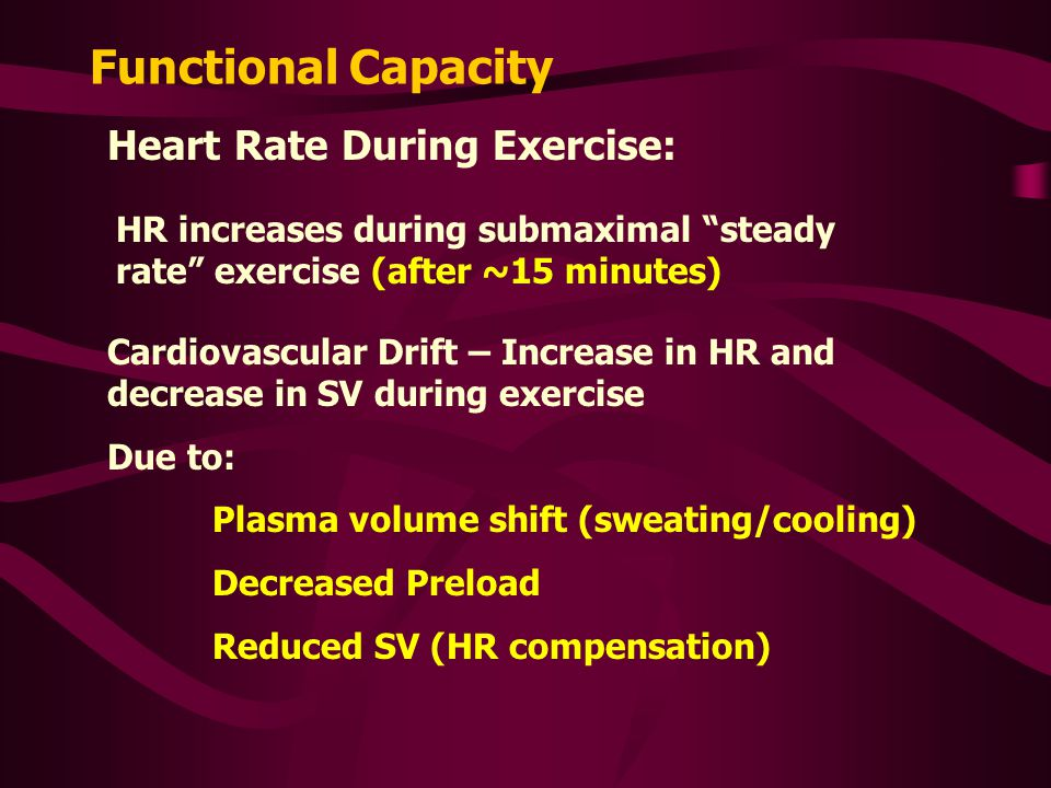 Functional Capacity Heart Rate During Exercise: