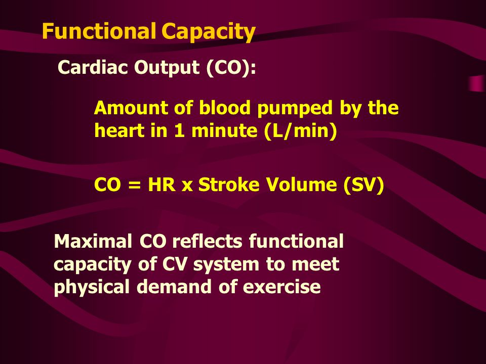 Functional Capacity Cardiac Output (CO):