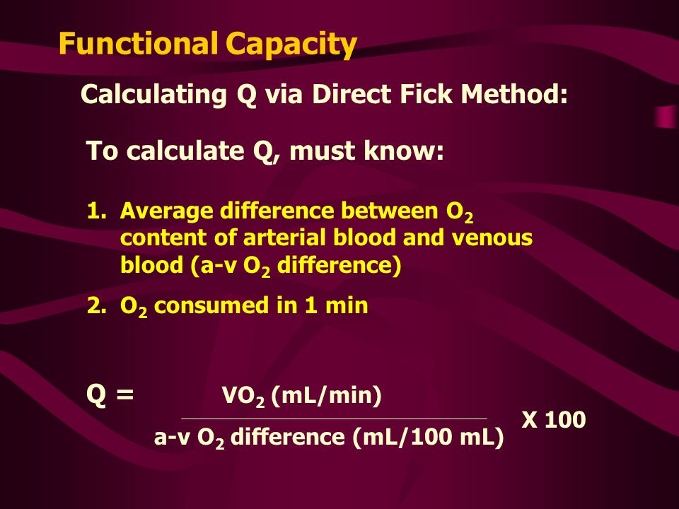 Functional Capacity Calculating Q via Direct Fick Method: