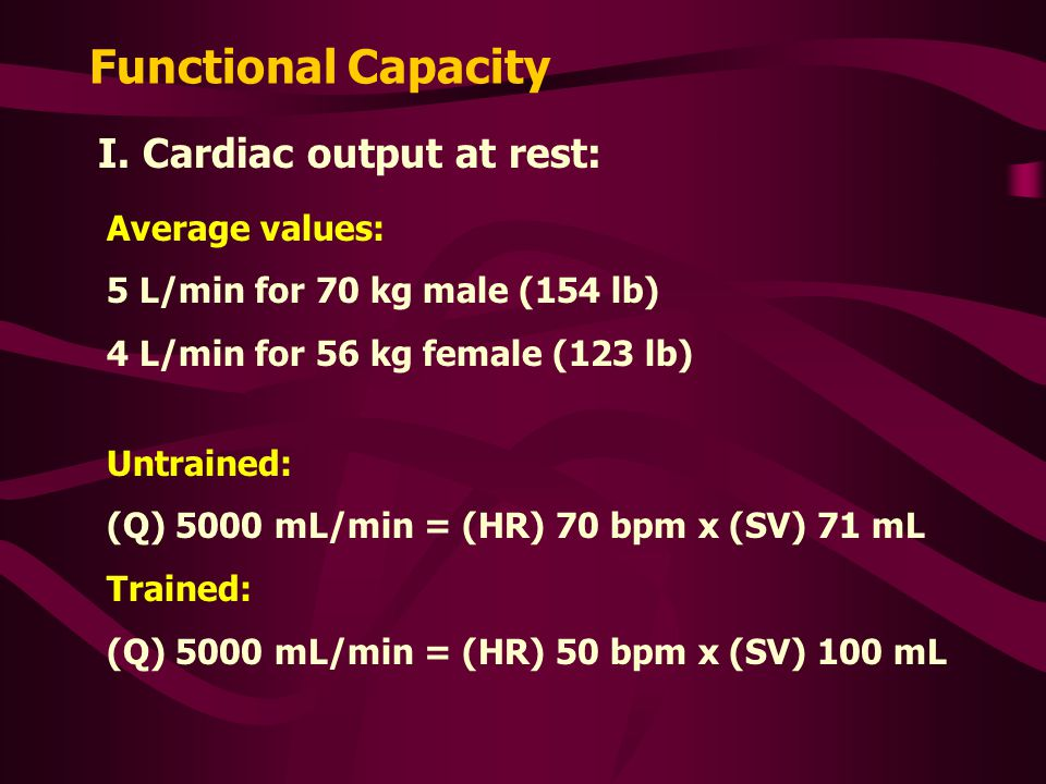 Functional Capacity I. Cardiac output at rest: Average values: