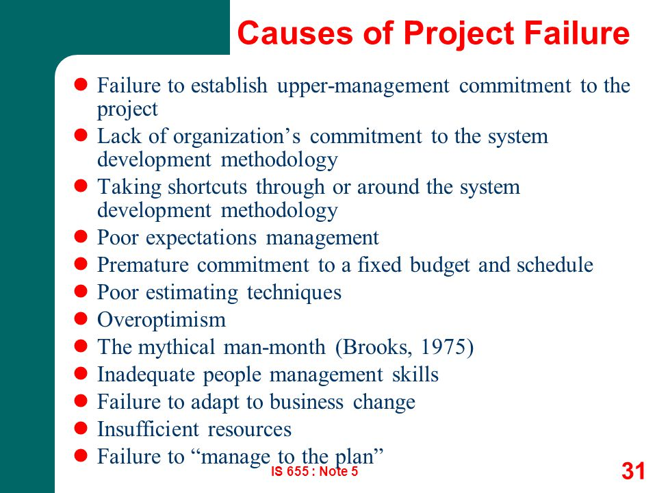 the causes of project failure Well there you have it, reasons for project failure this is the time when you should consider ways to prevent this failure adequate employee training, project management software and management transparency will lead you to project success.