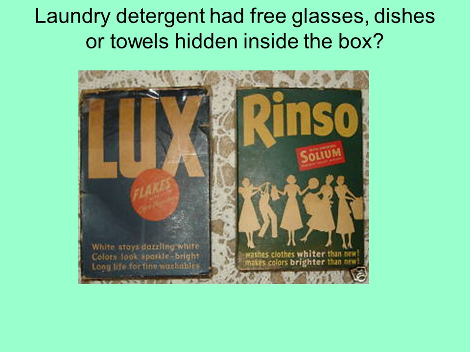 Laundry detergent had free glasses, dishes or towels hidden inside the box