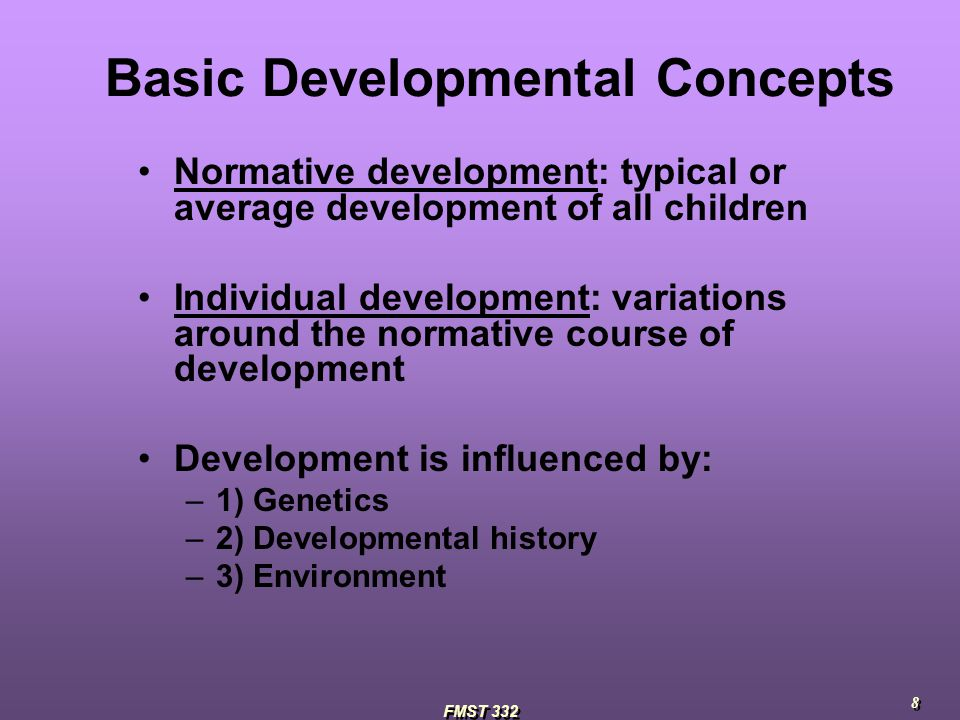 normative development Child development books and other educational materials for parents rarely include any information about sexual development those books also hardly ever explain the difference between typical/normal sexual behavior and sexual behavior problems many parents are unsure how to know when a certain sexual behavior—such as when a.