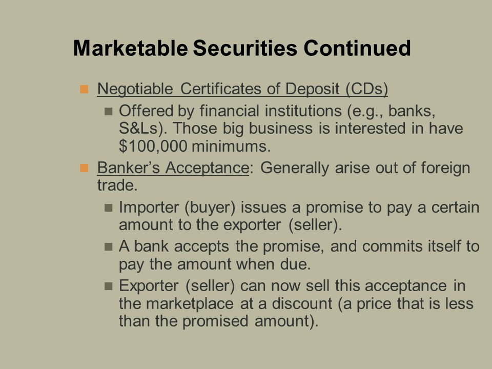 Marketable Securities Continued