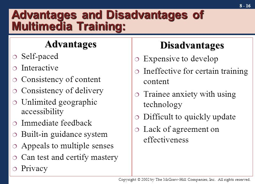 the disadvantages and advantages of computer based training Advantages of web-based learning from other computer-assisted instructional methods, and disadvantages of web-based learning.