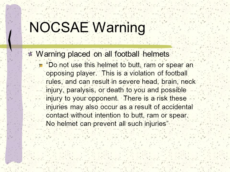 NOCSAE Warning Warning placed on all football helmets