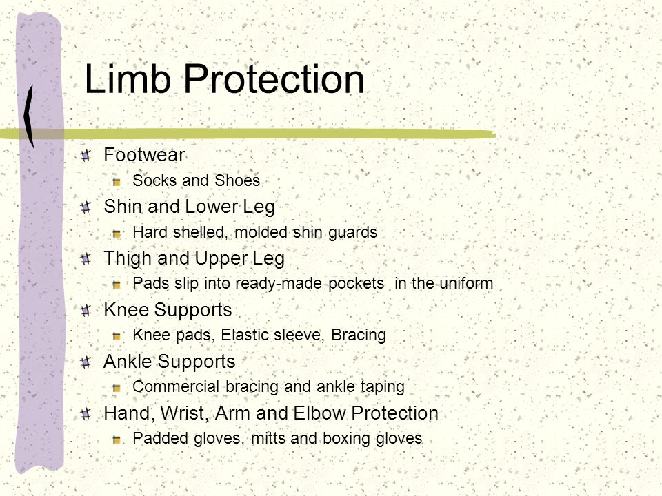 Limb Protection Footwear Shin and Lower Leg Thigh and Upper Leg