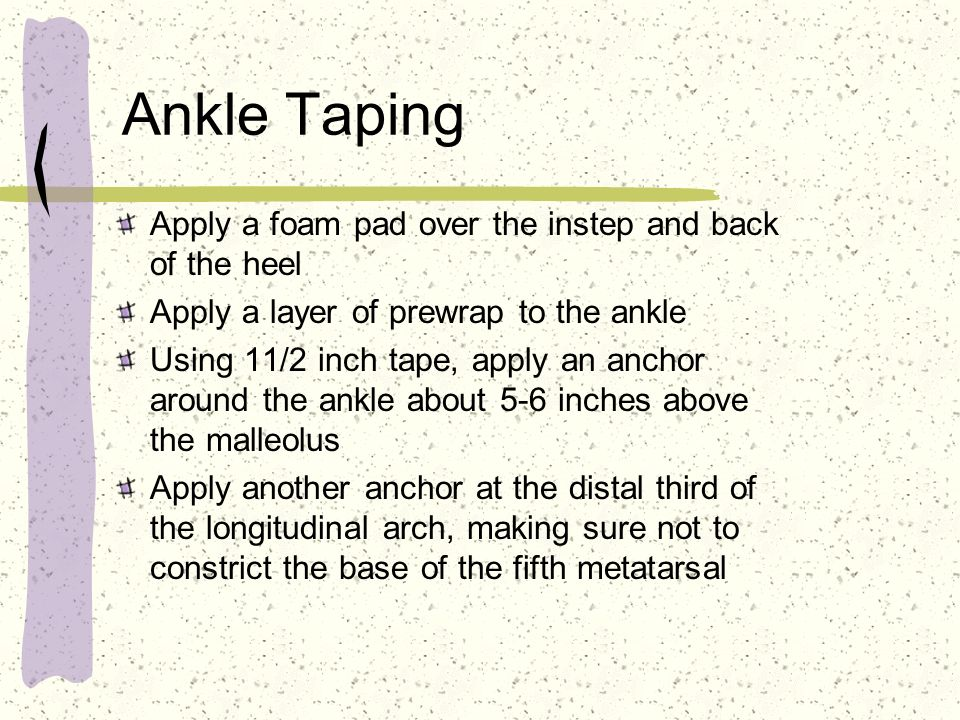 Ankle Taping Apply a foam pad over the instep and back of the heel