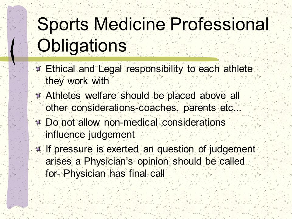 Sports Medicine Professional Obligations