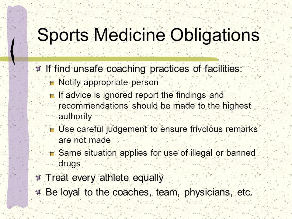 Sports Medicine Obligations