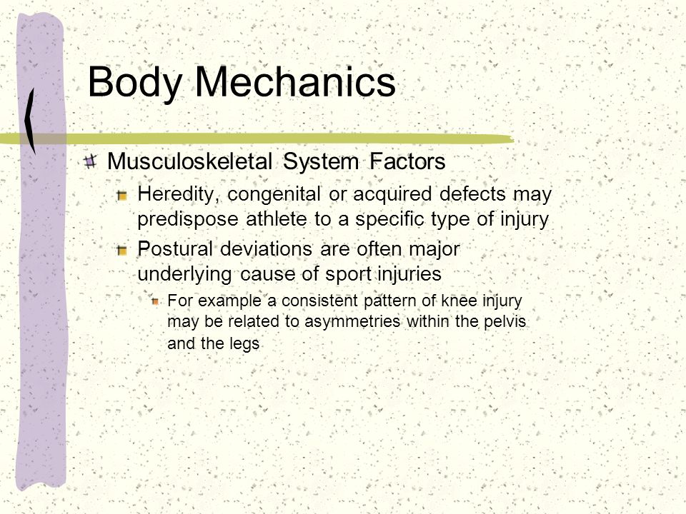 Body Mechanics Musculoskeletal System Factors