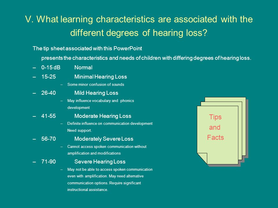V. What learning characteristics are associated with the different degrees of hearing loss