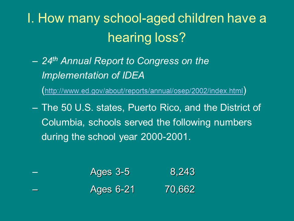 I. How many school-aged children have a hearing loss