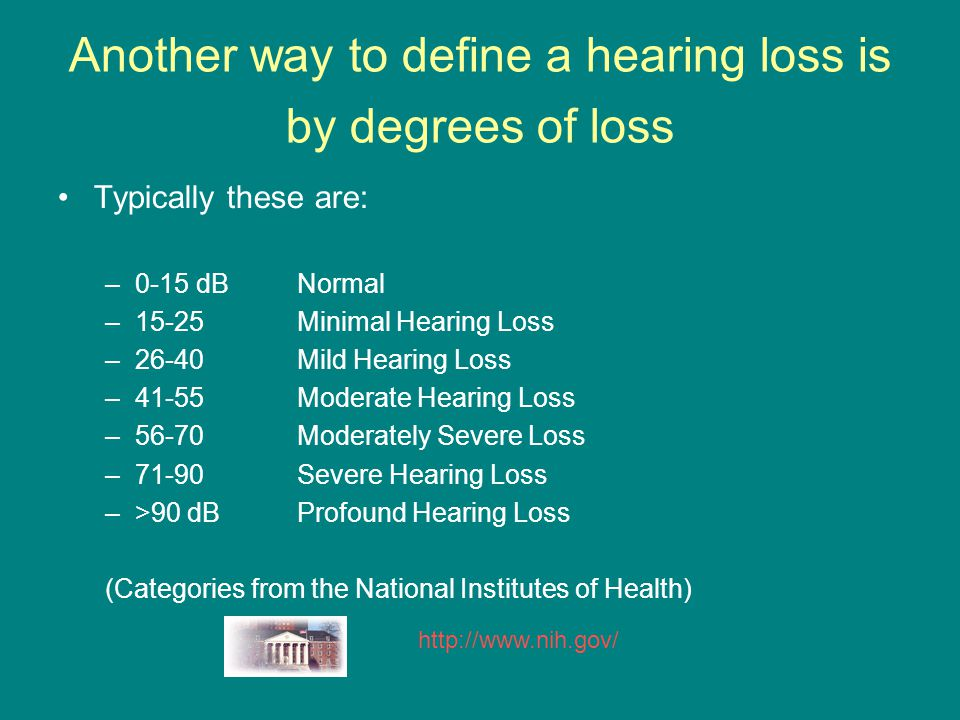 Another way to define a hearing loss is by degrees of loss