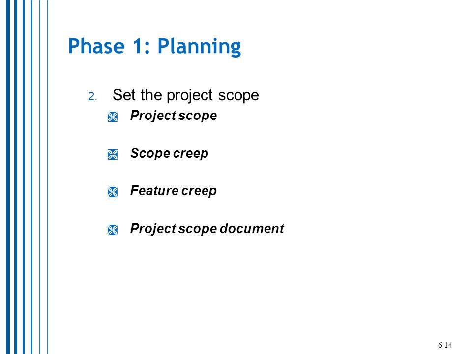Phase 1: Planning Set the project scope Project scope Scope creep