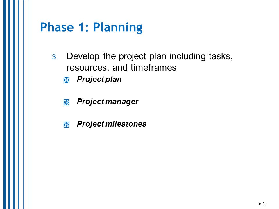 Phase 1: Planning Develop the project plan including tasks, resources, and timeframes. Project plan.