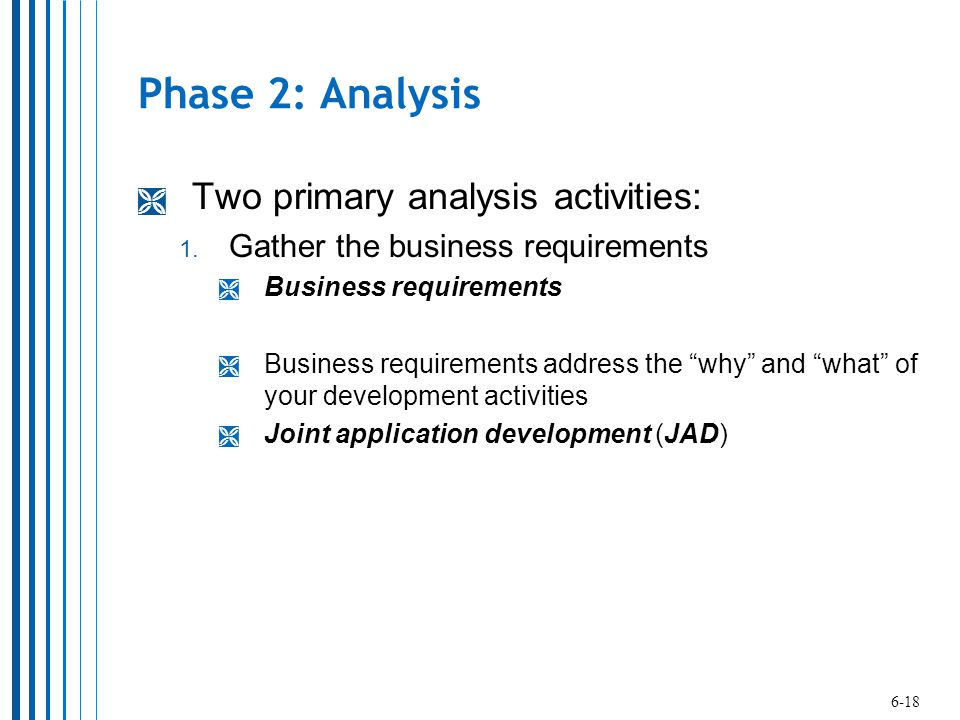 Phase 2: Analysis Two primary analysis activities: