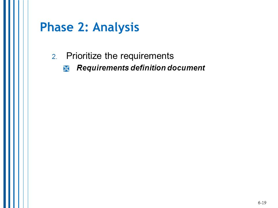 Phase 2: Analysis Prioritize the requirements