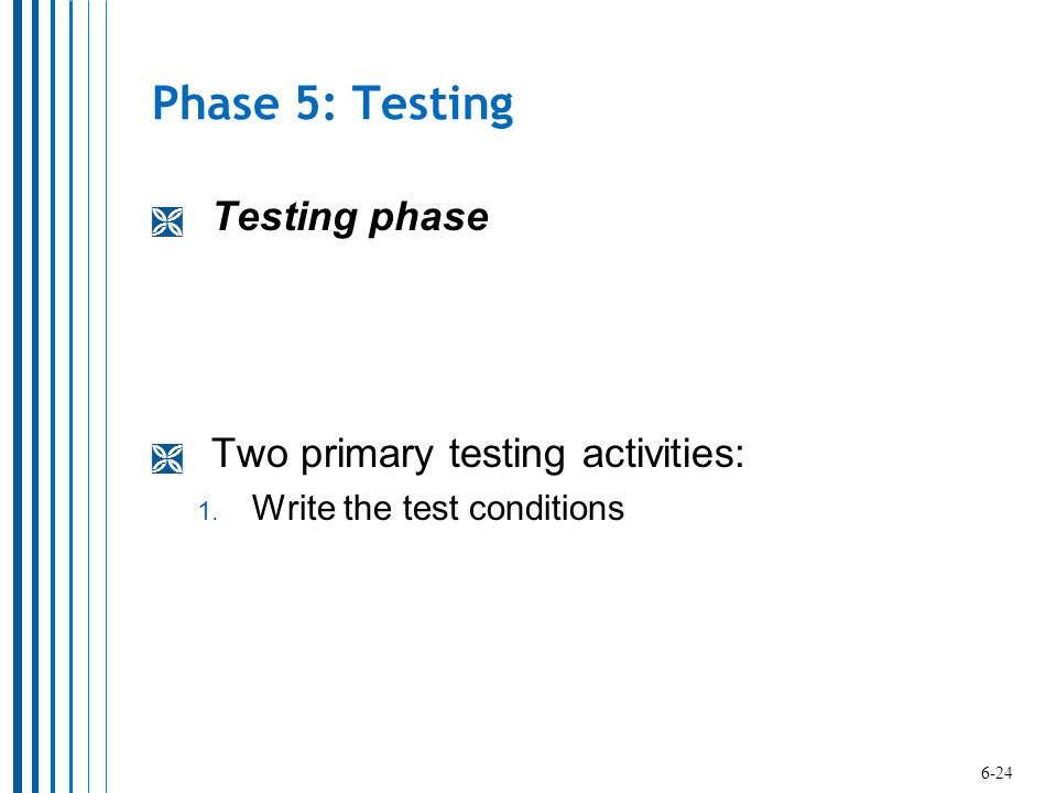 Phase 5: Testing Testing phase Two primary testing activities: