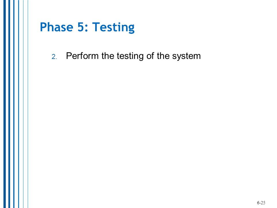 Phase 5: Testing Perform the testing of the system 6-25