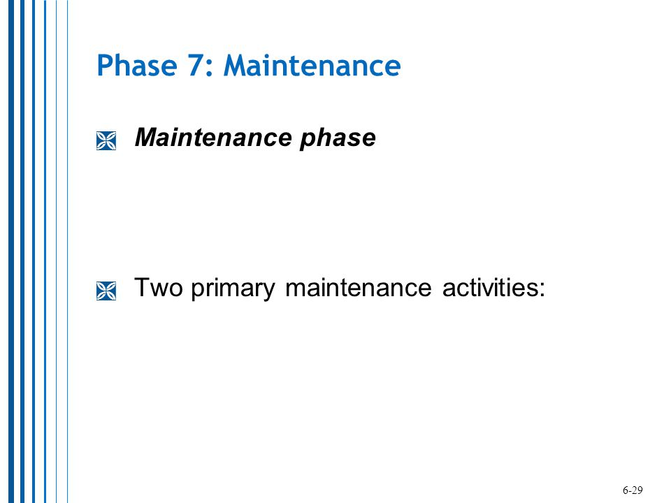 Phase 7: Maintenance Maintenance phase