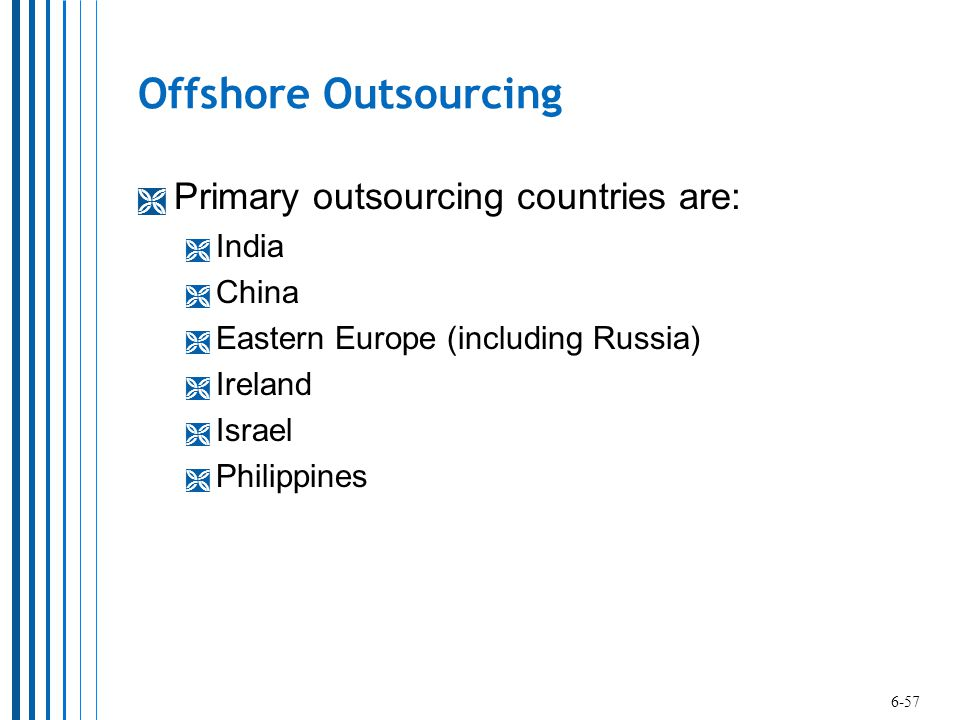Offshore Outsourcing Primary outsourcing countries are: India China