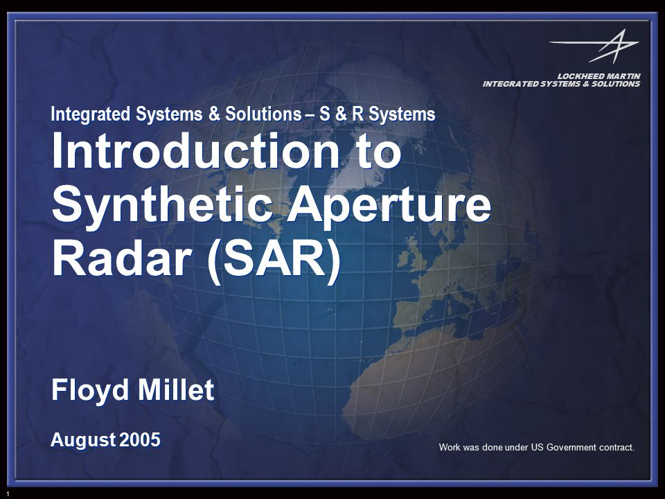 Introduction To Synthetic Aperture Radar Sar Ppt Download