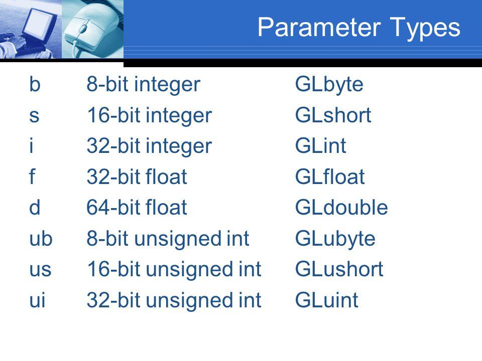 Parameter Types b 8-bit integer GLbyte s 16-bit integer GLshort
