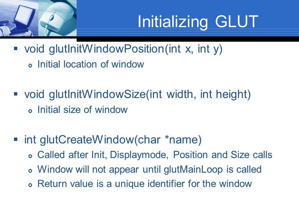 Initializing GLUT void glutInitWindowPosition(int x, int y)