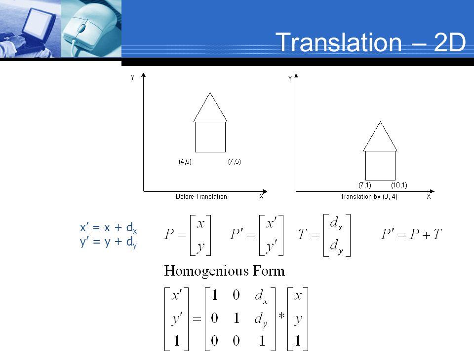 Translation – 2D x' = x + dx y' = y + dy