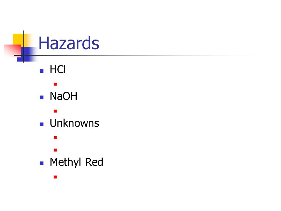 Hazards HCl NaOH Unknowns Methyl Red