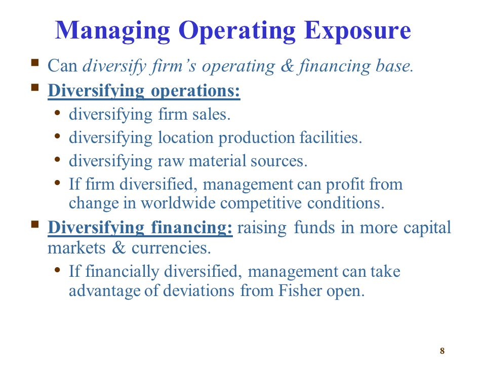 how to manage operating exposure and Risk management and the rating  risk management fosters an operating environment  tor and manage their exposure to the five key categories of risk: credit.