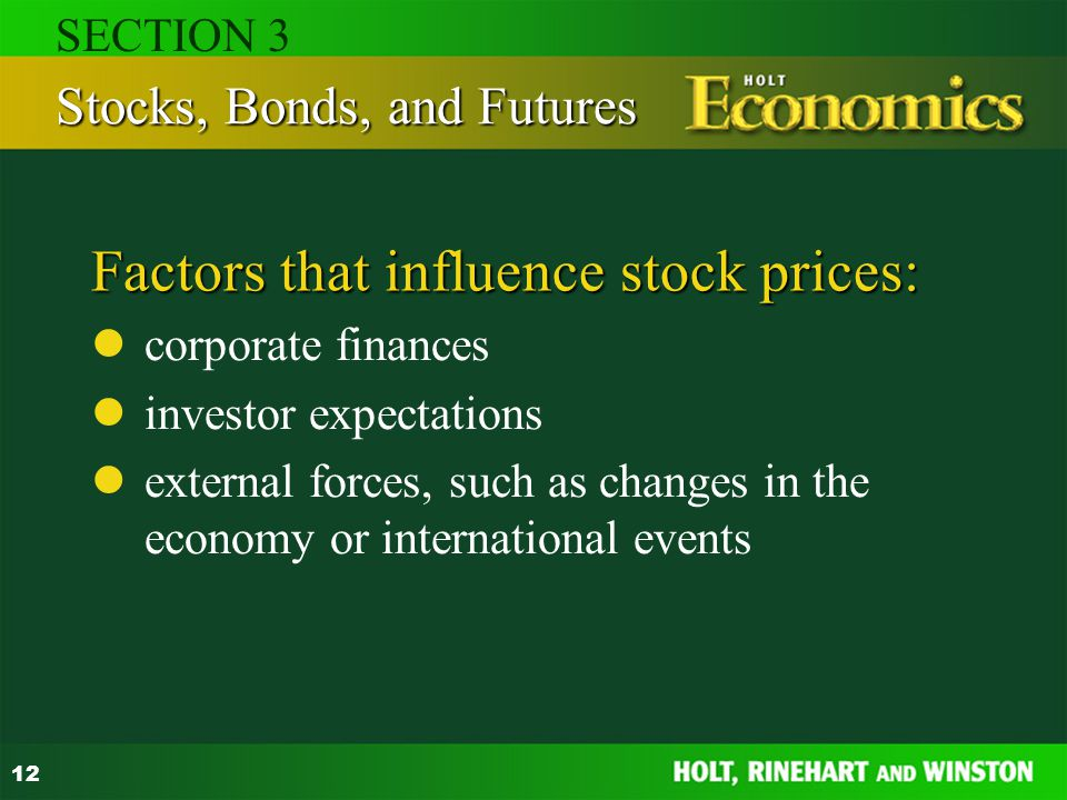 Factors that influence stock prices: