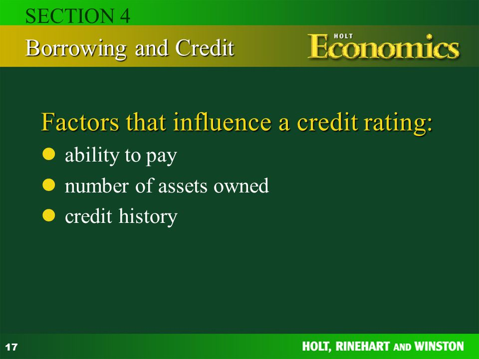 Factors that influence a credit rating: