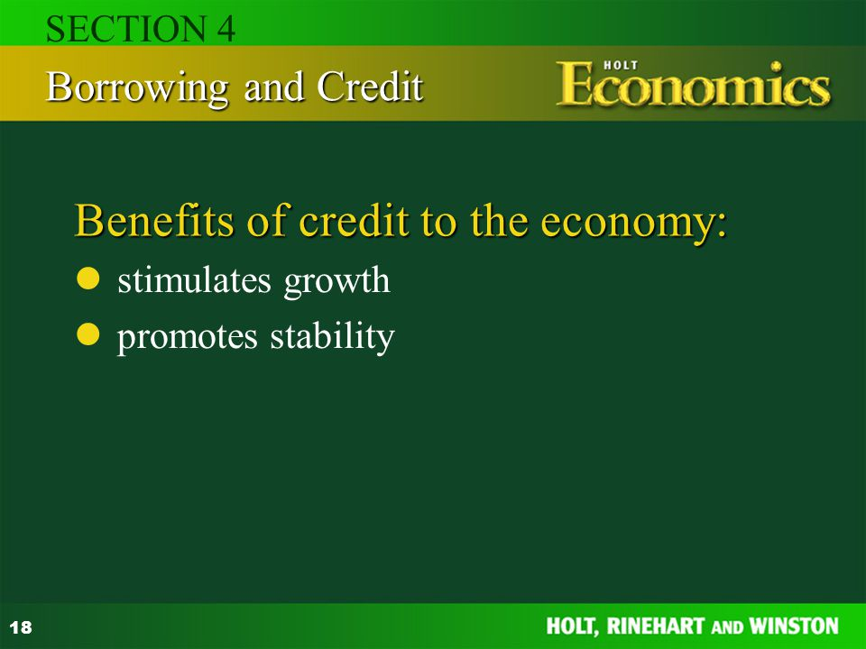 Benefits of credit to the economy: