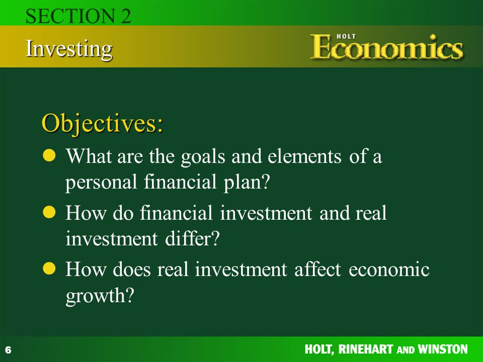 Objectives: Investing SECTION 2