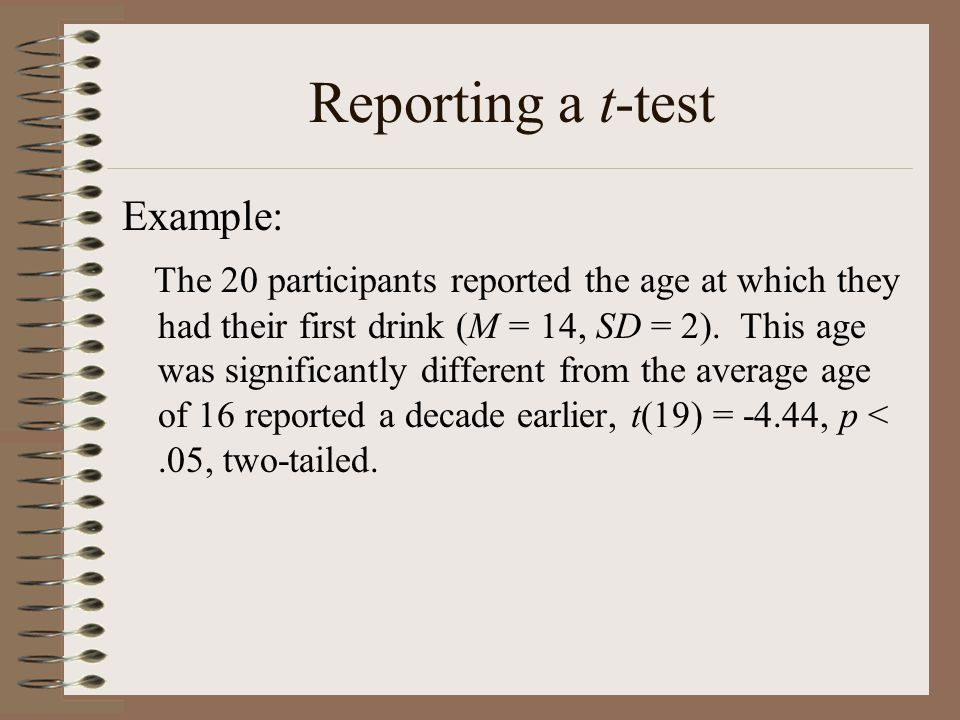 Reporting a t-test Example:
