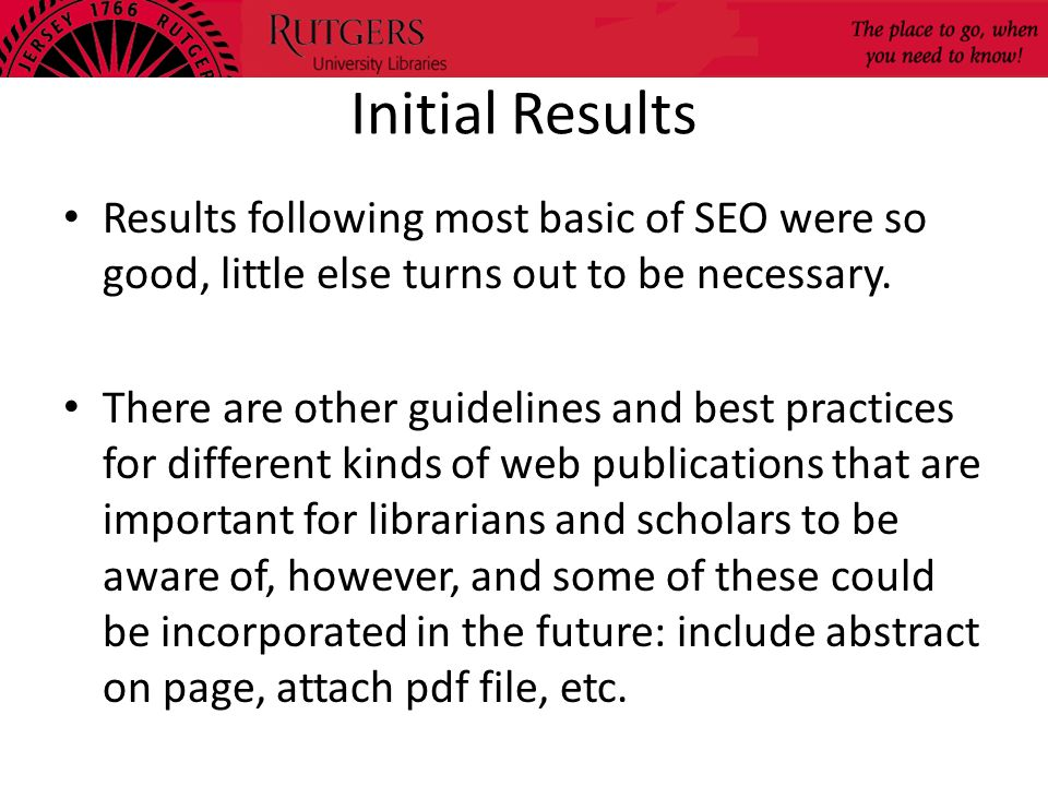 Initial Results Results following most basic of SEO were so good, little else turns out to be necessary.