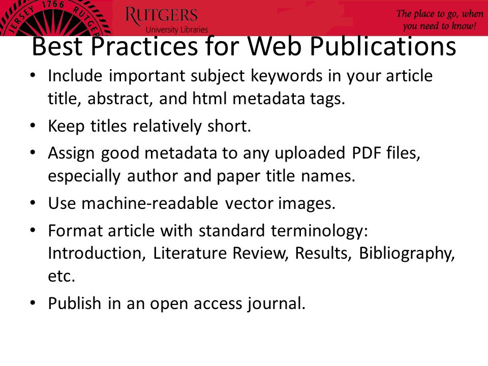 Best Practices for Web Publications