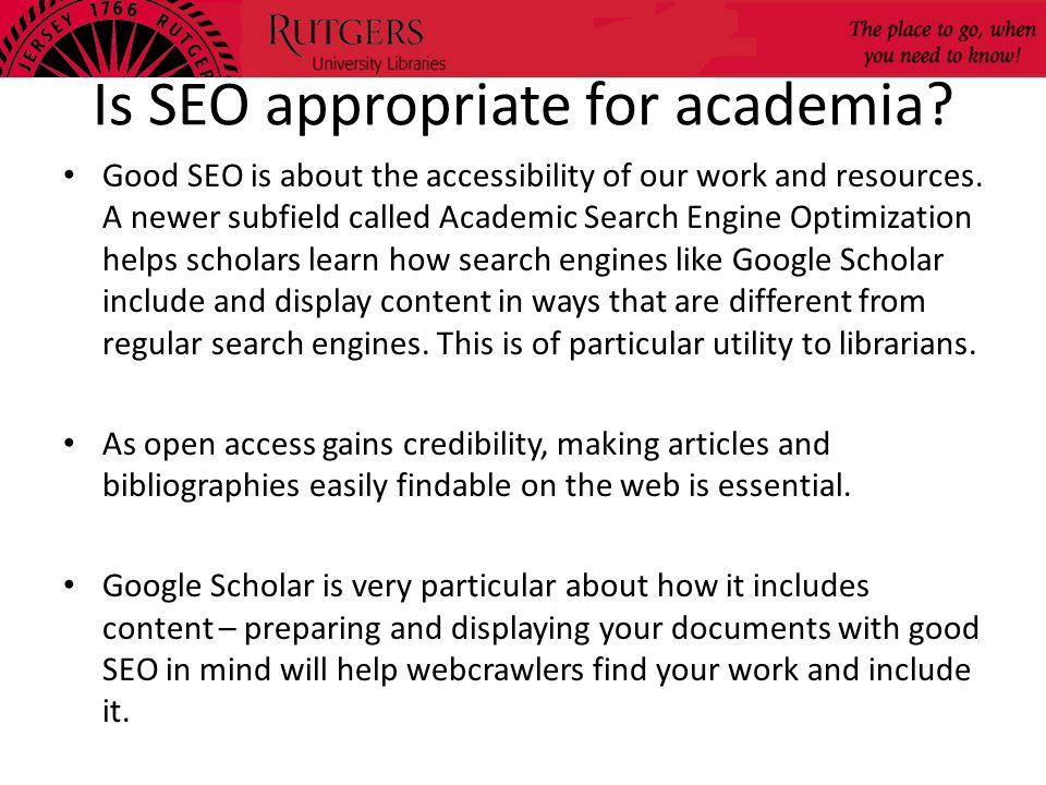 Is SEO appropriate for academia